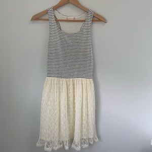Altar'd State Gray and White Lace Dress